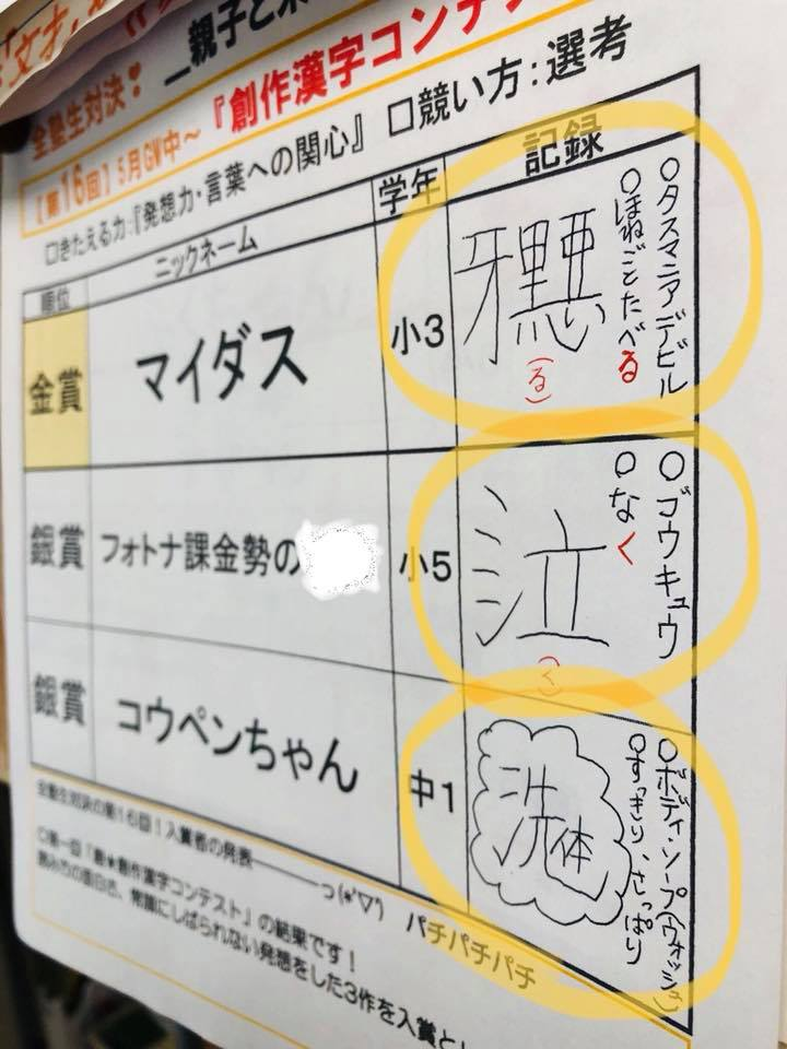 第16回全塾生対決『創作漢字コンテスト』表彰